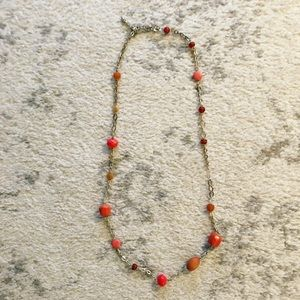 Salmon & coral pink long beaded chain necklace